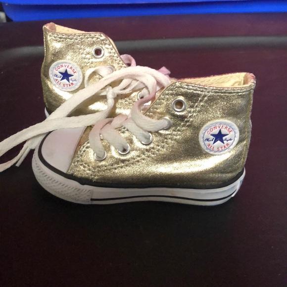 7cfac3e14ef9 Converse Other - Baby   toddler Gold high top converse sneaker